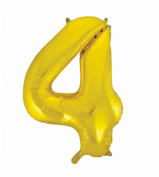 Gold Number 4 Foil Balloon